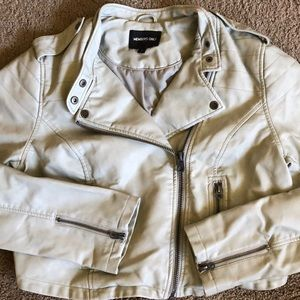 Members Only Light Stone Grey Leather Jacket
